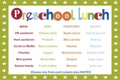 SAHM I am- Stay At Home Mum: Taking the guesswork out of Preschool lunches