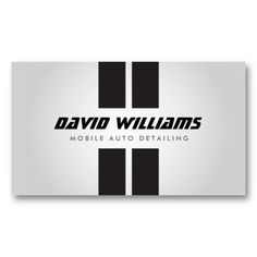 RACING STRIPES GRAY/BLACK Auto Detailing, Repair Business Card Template