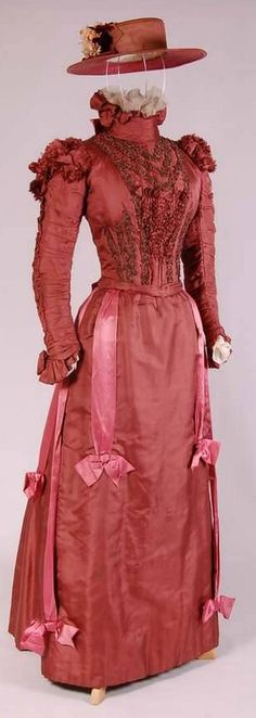 Dress: ca. 1895-1900, English, silk, cotton, glass, metal. OPEN FASHION ID 23320