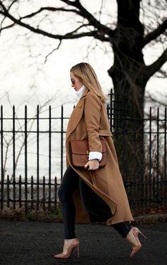 Turn Around via BrooklynBlonde.com / @Helena Glazer Coat: Mackage | Sweater: Revolve | Denim: James Jeans | Shoes: Louboutin | Bag: Celine | Pin: Vintage Chanel Monday, January 11, 2016