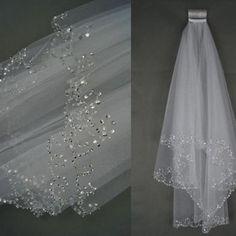 2016ウェディングベール結婚式ブライダルベール2層手作りビーズクレセントエッジブライダルアクセサリーベール白とアイボリー色