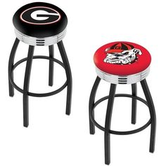 Georgia Bulldogs Chrome Ribbed Ring Black Bar Stool
