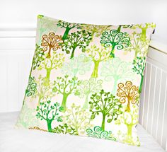 trees cushion cover, green leaves pillow cover 16 inch. £13.50, via Etsy.