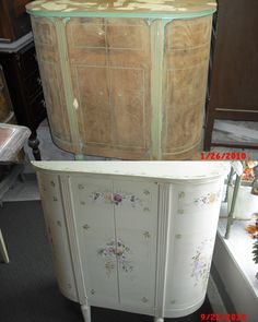 #upcycled #furnituremakeover #diy #repurposed Radio cabinet we gutted and added a shalf and put a back on it. I then handpainted flowers on the front. #vintagefurniture #paintedfurniture #furniture #diningroom #shabbychic #distressed #country #cottage