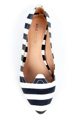 Nautical Navy Stripe Ballet Flats