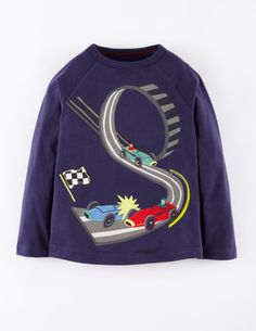 d06315c3 Free shipping and returns on Mini Boden Retro Cotton T-Shirt (Toddler Boys,  Little Boys & Big Boys) at Patchwork appliqués race and chase across a  sturdy ...