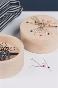 Made in the Uk from solid beech wood. Use the flat side as a pin holder. #BeyondMeasure #wooden #pincushion #sewing Sewing Spaces, Sewing Tools, Pincushions, Collaboration, Magnets, Fiber, Candles, Flat, Wood