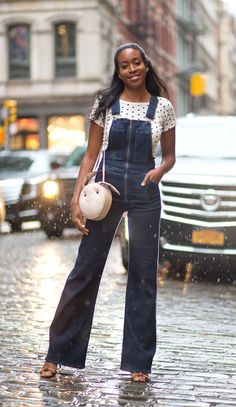 Chrissy Rutherford in Citizens of Humanity overalls and Gelarah Mizrahi bag at New York Fashion Week Spring 2016.