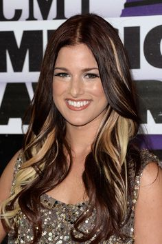 Cassadee Pope... dark hair with blonde peek-a-boo highlights