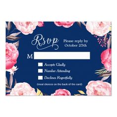 Floral Wedding Menu Romantic Floral Navy Blue Meal Choices RSVP Reply Card