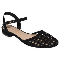 Women's Who What Wear Evelyn Macrame Ankle Strap Flat Quarter Strap Sandals -