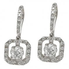 Round Diamond & Pave Cushion Frame Drop Earrings