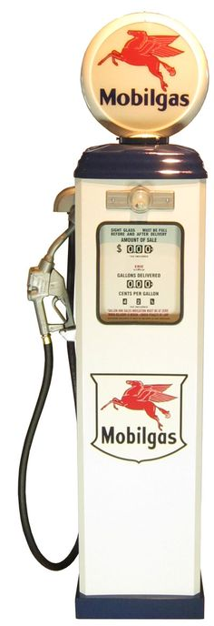 Art object 195cm 《 GAS PUMP 》★ interior promotion garage with the gas pump Mobilgas (Mobil gas) light of the 1950s