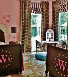 Pink Vinyl Monogram on Beds in Twin Girls Room... via www.thistlewoodfarms.com #monograms #girlsrooms