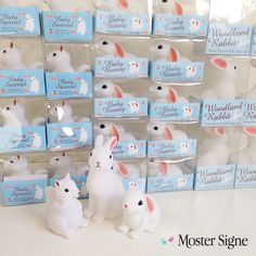 Moster Signe toy store in Slagelse, Denmark. Woodland rabbit, baby bunny and baby squirrel night lights.