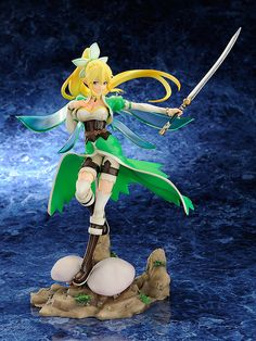 Leafa from the Fairy Dance Arc of Sword Art Online has been beautifully crafted as a 1/8 scale figure. Her emerald green eyes are looking off into the distance as she twirls with her sword in hand. Her graceful movement is expressed through her outfit and long blonde ponytail that were meticulously molded to look as if they were blowing in the wind. Rich greens, browns, and whites were used to pai...