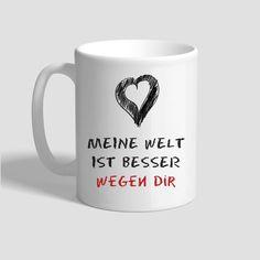 Tasse – Meine Welt ist besser wegen dir Andreas, Mugs, Tableware, World, Gifts, Dinnerware, Cups, Mug, Dishes