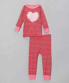 Love this Red Stripe Heart Pajama Set - Infant, Toddler & Girls by Cat & Cow on #zulily! #zulilyfinds