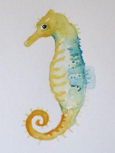 ORIGINAL Watercolor Seahorse by RaceStreetStudios on Etsy, $15.00