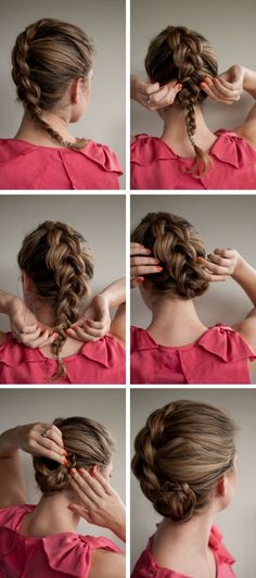 Cute way to tuck in a french braid for a unique swirl.
