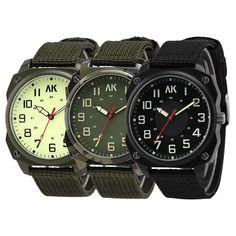 Ak Military Army Canvas Nylon Strap Band Men'S Quartz Tactical Sport Pilot Watch