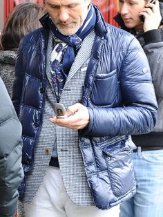 shade of blue layers: quilted coat over coat & print scarf