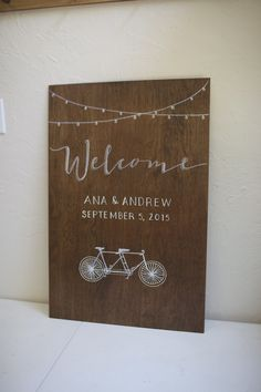 Custom plywood Welcome with fun wedding theme detail. Bicycle built for two. Hand painted. Personalized