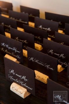 Black Name Cards with Wine Cork Stands