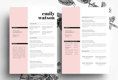 3 page CV template + Business card by Emily's ART Boutique on @creativemarket