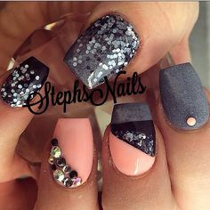 Short coffin nails | fall nail art | unas