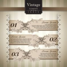 Set of three vintage style bar graphs vector art illustration