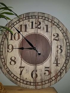 Large Rustic Wooden Pallet Farmhouse Clock - available in 4 sizes Big Wall Clocks, Rustic Wall Clocks, Wood Clocks, Rustic Walls, Wooden Pallet Furniture, Wooden Pallets, Rustic Furniture, Pallet Wood, Unique Furniture