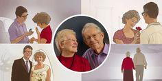 1. Una feliz pareja de edad avanzada; 2. Lamisma pareja el día que se comprometieron, el día de su boda, en una ocasión especial y caminando juntos, ya mayores