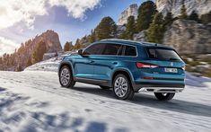 Télécharger fonds d'écran Skoda Kodiaq Scout, 2018, 4k, bleu de croisement, de l'équitation dans la neige, hiver, montagnes, SUV, tchèque voitures, Skoda