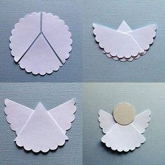 Cut circle out of card stock or construction paper.  Then cut the edges in a pretty shape. Or even use a round lace doily that is all ready to go. Cut in Y shape.  Glue together and put round face on.