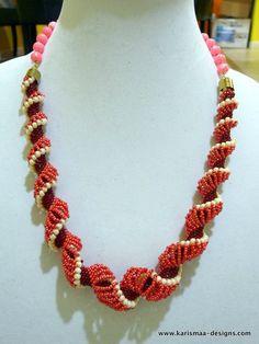 a Dutch spiral  masterpiece - peach cream and maroon  necklace