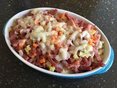 Gratin de coquillettes aux petits légumes et au bacon