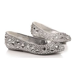 Comfortable flats silver crystal shoes for by Creativesugar, $89.00