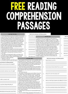 FREE Reading Comprehension Passages and Questions Grade Free Sample) Free Reading Comprehension Passages and Questions for students in third grade, fourth grade and fifth grade. Engaging fictional stories for your elementary classroom. Reading Intervention, Reading Skills, Teaching Reading, Reading Response, Guided Reading, Reading Homework, Teaching 6th Grade, Reading Help, Close Reading
