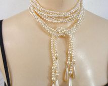 Pearl Rope Necklace Earrings Beads Tassels Liz Claiborne Royal Hang Tag Downton Abbey Wedding Champagne Cream 333