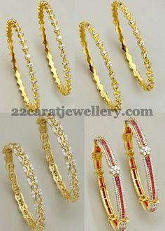 Jewellery Designs: Very Simple Diamond Bangles