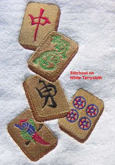 MAH JONG TILES Embroidered Terrycloth Hand Towel by Becky