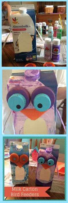 Milk Carton Bird Feeders are a great inexpensive kids craft.  With just a few supplies, this activity will keep the kids occupied for about an hour.