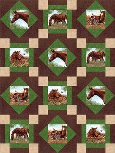 Horse Ranch Stables Quilt Kit Pre-Cut Blocks