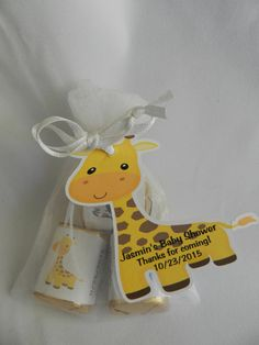 Unique Personalized Giraffe, Lion, Hippo, Elephant or Zebra Baby Shower Birthday Party Favor Gift Tags or Any Occassion. $5.75, via Etsy.