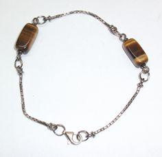 Antikes Damenarmband mit Tigerauge-Edelsteinen 337 von Atelier Regina auf DaWanda.com