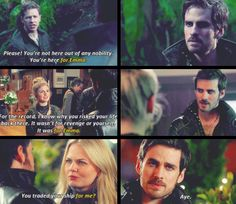 When David says it, Killian's shocked expression says he knew he wasn't indifferent towards Emma, but he still wasn't certain. When Tink says it, is like a blushing moment, by then he knew what he felt was true love. And with Emma, he simply says what he did; she's not obliged to him, but he doesn't regret his decision. There's so much honesty here, so much care... After that moment, Emma doesn't need any other proof of how much he loves her.
