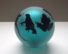Glass Frog Paperweight   Correia Art Glass Paperweight Globe Frogs Aqua Blue Vintage Signed and ...