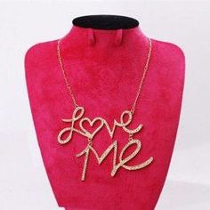 6c8aa2ffdd34 Wholesale Fashion Rhinestoned Love-Me Pendant Necklace For Women (COLOR  ASSORTED), Necklaces