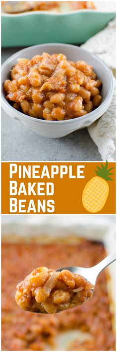 Pineapple Baked Beans – a favorite side dish for barbecues! Beans with bacon, crushed pineapple, and brown sugar are baked until the sauce is thick and delicious.